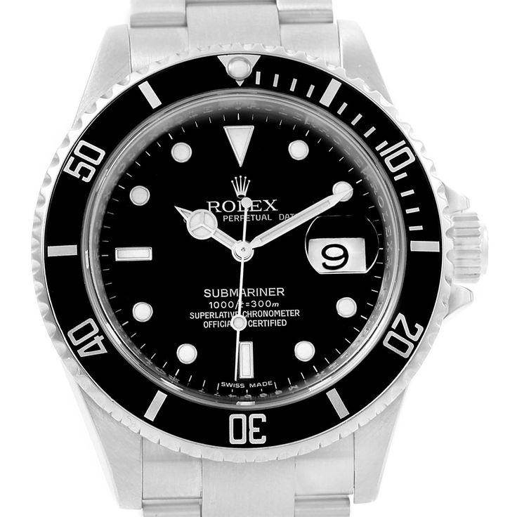 16452 Rolex Submariner Date Black Dial Stainless Steel Mens Watch 16610 SwissWatchExpo