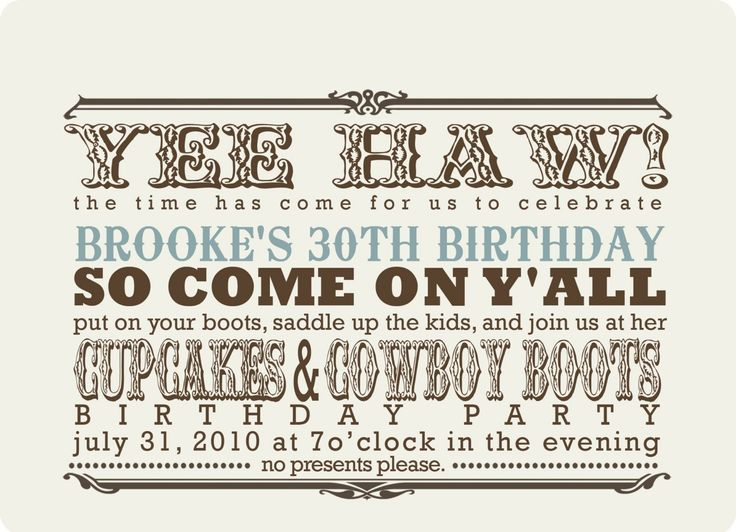 custom western party invitation - cupcakes and cowboy boots..