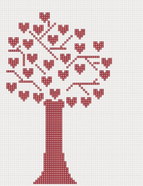 Free Heart tree valentines cross stitch pattern Craft with Ruth Cartwright