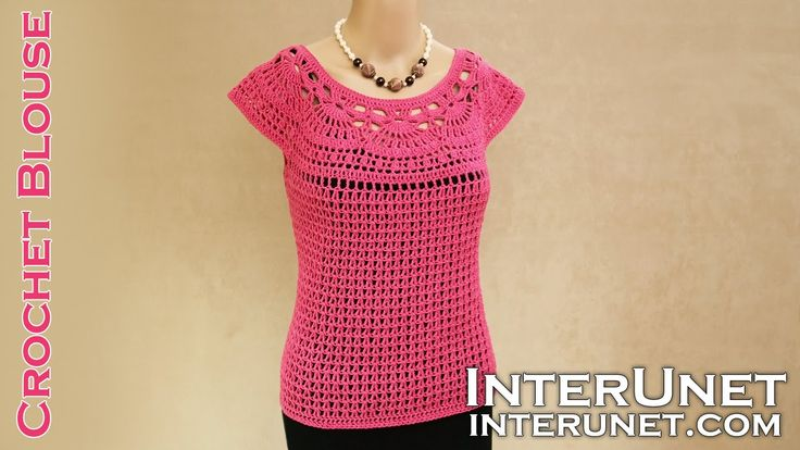 Lace summer top - pink camellia blouse crochet pattern