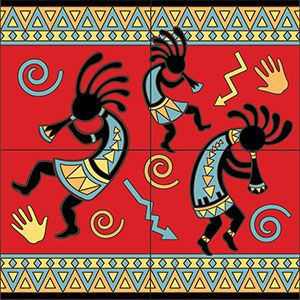 Complete your home decor with these colorful Southwest ceramic tile murals!  Use them on a kitchen wall to brighten your work area or in any room of the home with tile.  Depicting beautiful scenery and culture, these tiles are for Southwest lovers.  Available in both a 4 tile mural or the larger 9 tile below.