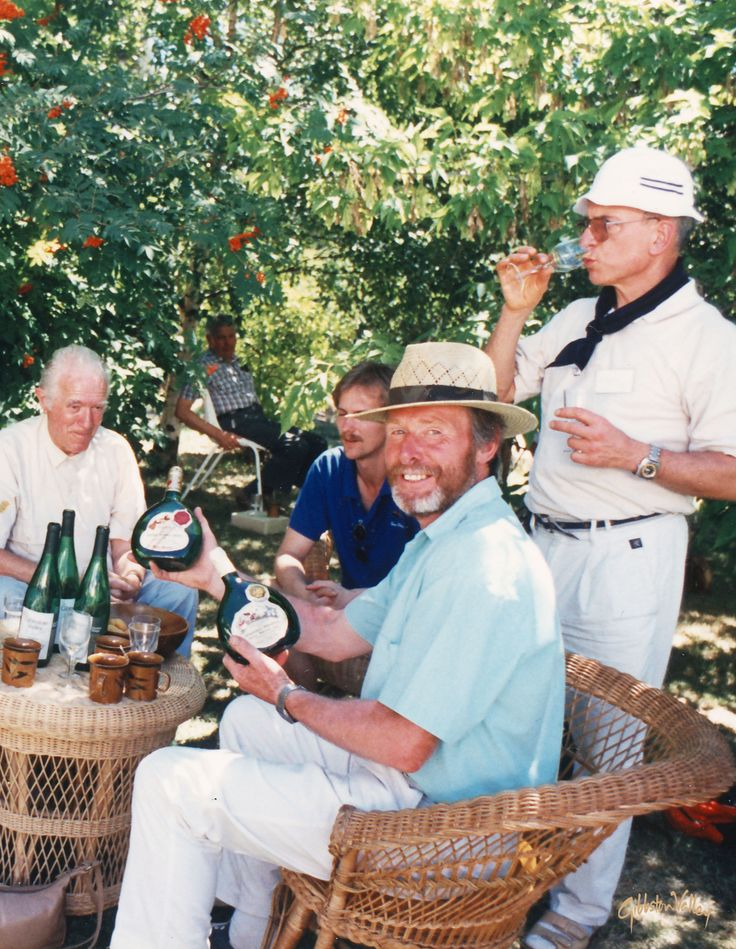 Gibbston Valley Winery founder Alan Brady celebrating the good life in Central Otago in the early '80s. Cheers!