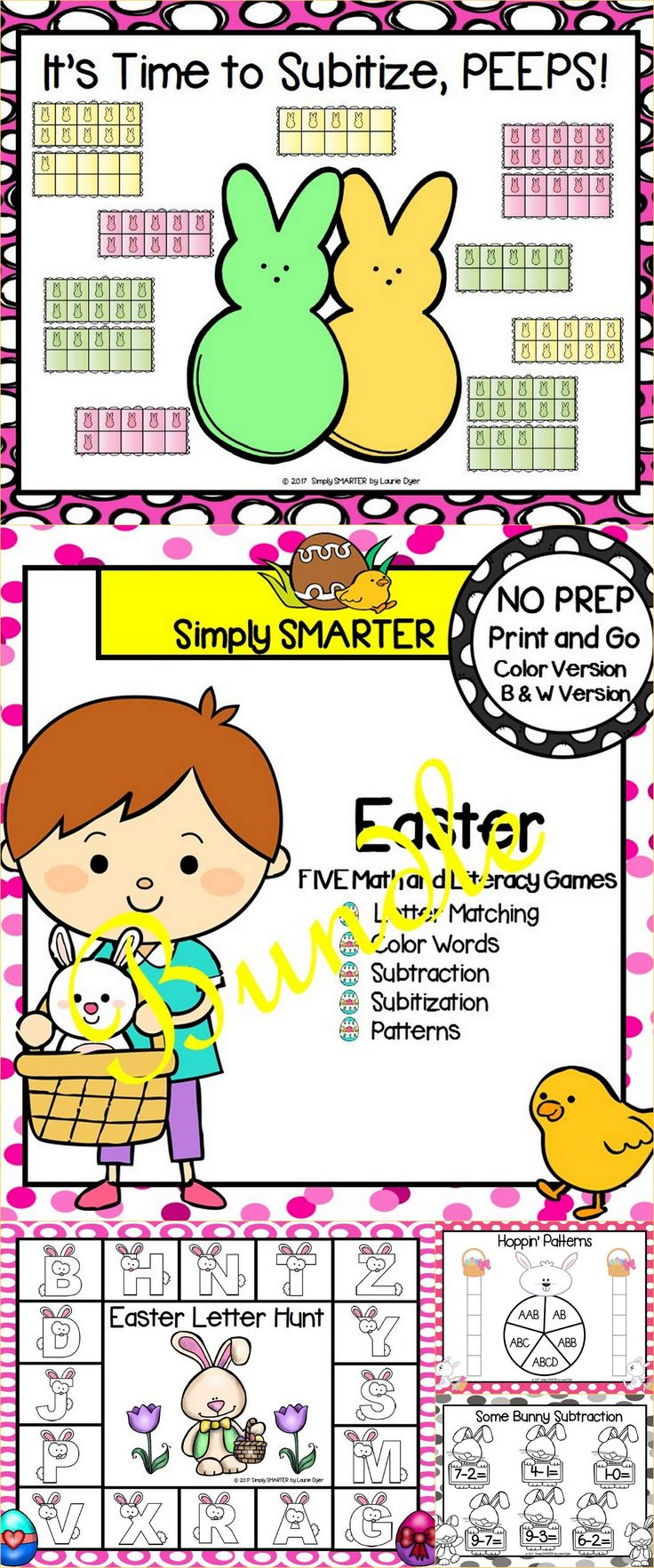 Are you looking for NO PREP literacy and math games for preschool, kindergarten, or first grade? Then download this bundle and go! Enjoy this phonics and math resource which is comprised of FIVE different EASTER themed games complete with a color version and black and white version of each game. The games can be used for small group work, partner collaboration, or homework!