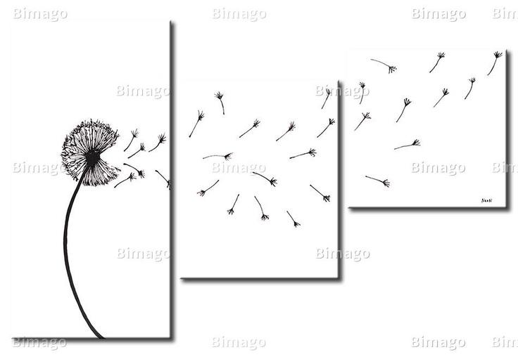 Soffione in bianco e nero su tela // a dandelion in the wind - paiting