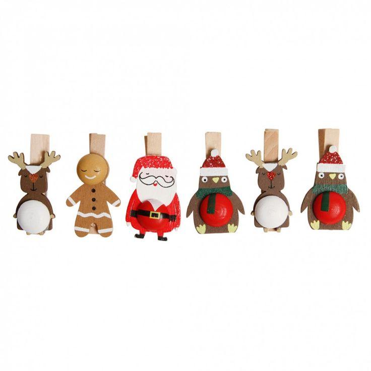 Santa and friends Christmas card pegs - box of 12 - Christmas Tree Decorations - Christmas Decorations - Christmas Shop
