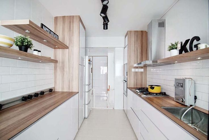 White with wood laminate counter top