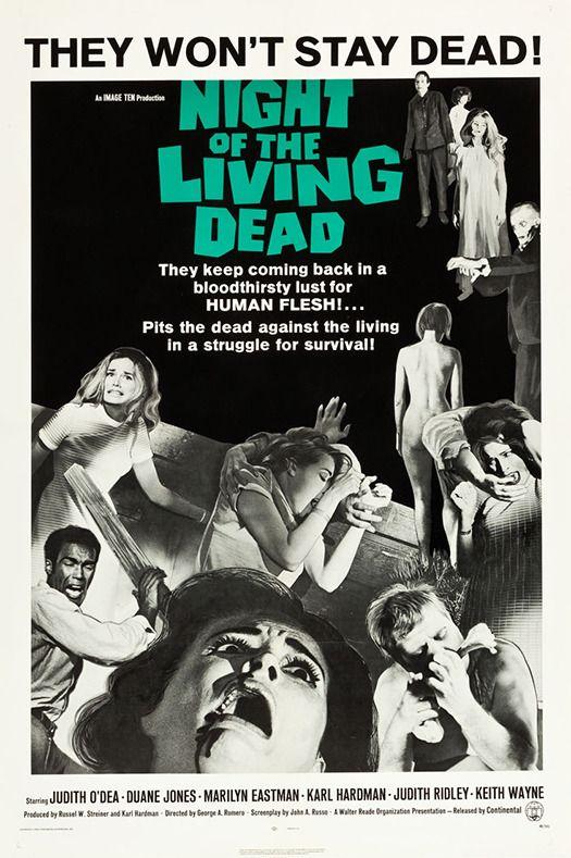 La noche de los muertos vivientes (Night of the living dead) es una película de terror de 1968 dirigida por George A. Romero y con Duane Jones, Judith O'Dea y Karl Hardman como actores principales.  La trama se centra en un grupo de personas que se refugia en una granja luego que los muertos comienzan a cobrar vida.