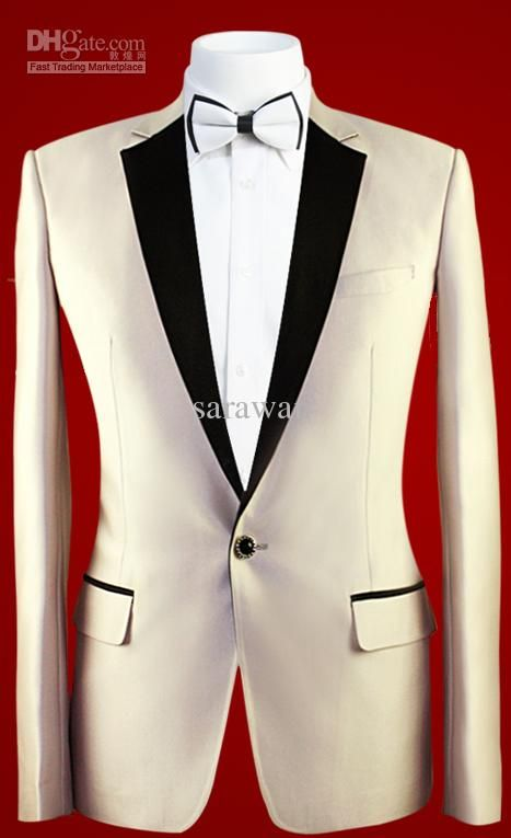 Custom MADE TO MEASURE Men Suit,BESPOKE Champagne Tuxedo Groom Wedding Suits One Button with Black Satin Notch Lapel, $164.2   DHgate.com