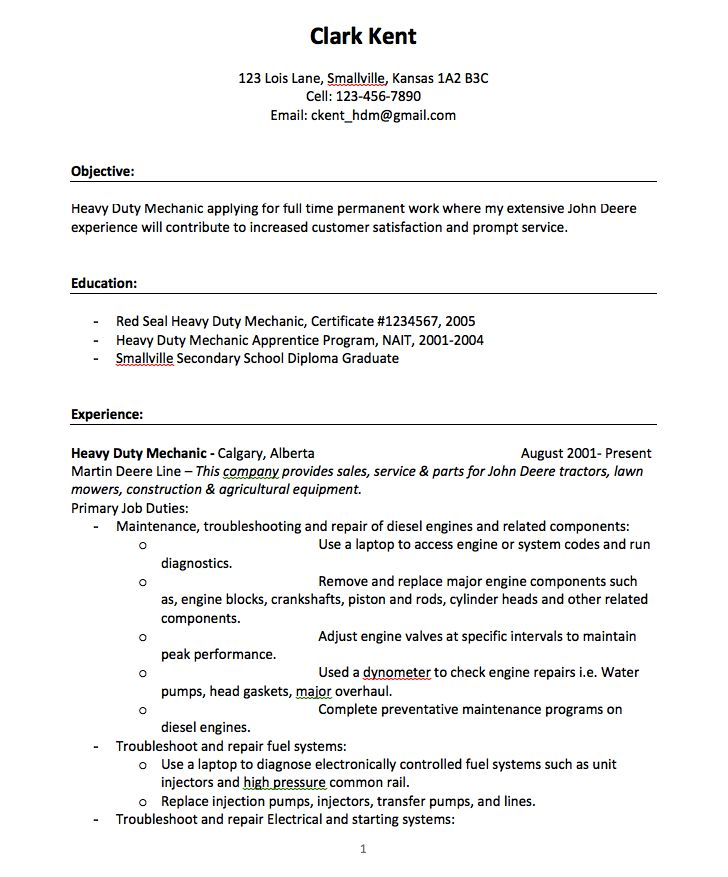 Heavy Duty Mechanic Resume Examples - Template