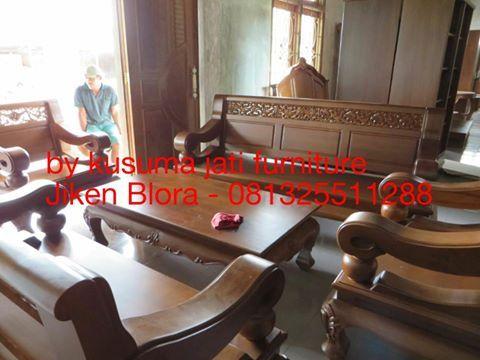 perabot mebel meja dan kursi tamu jati minimalis teak furniture