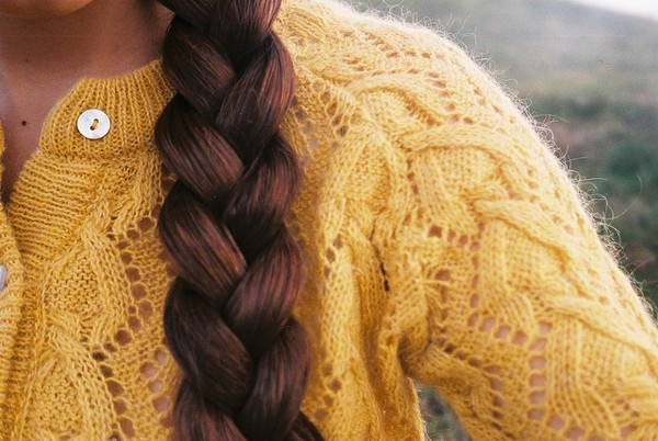 #coolCardigans, Braids Hairstyles, Sweaters, Braids Hair Style, Thick Braids, Red Hair, Autumn, Girls Hairstyles, Mustard Yellow