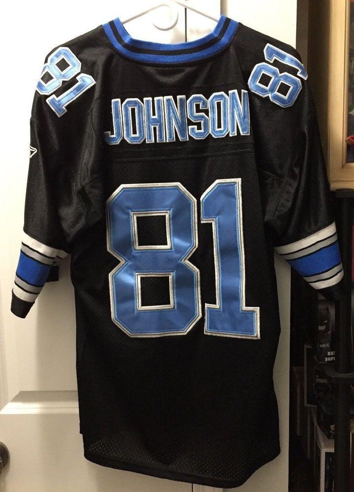Detroit Lions Calvin Johnson Size 50 Black With Blue Lettering