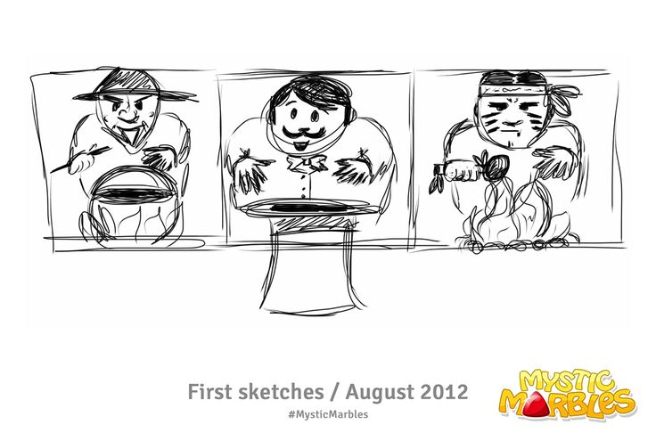 My first magician sketches of Mystic Marbles. Made in August 2012. #MysticMarbles #iPhone #iPad #Android #Game