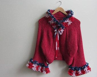 Altered American Flag Sweater Cardigan, 4th of July Patriotic Clothing