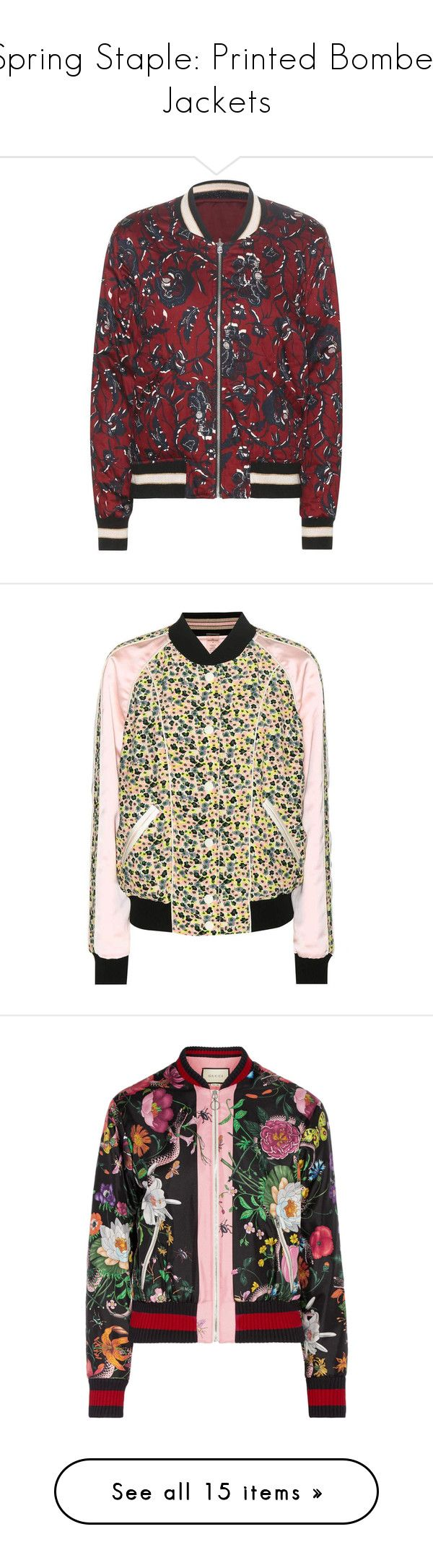 """Spring Staple: Printed Bomber Jackets"" by polyvore-editorial ❤ liked on Polyvore featuring printedbomberjackets, outerwear, jackets, red, red jacket, etoile--isabel marant jacket, bomber style jacket, red cotton jacket, blouson jacket and multicoloured"