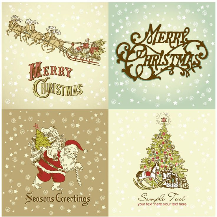 Vintage Merry Christmas Greeting Cards Vector