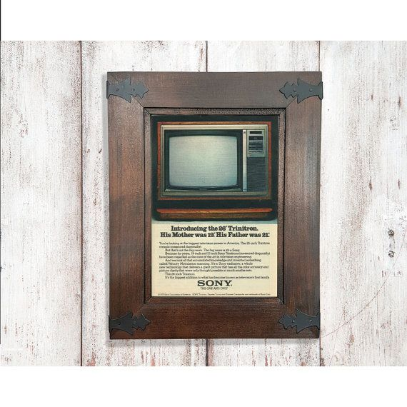 Sony Television Ad | Vintage 70s Wood Grain Style | Old Grandparents TV Advertisement | Cute Cabin Decor | Technology Sign | Magazine Page by RetroPapers