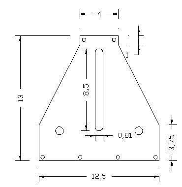 """Forocopia ya, roladora - curvadora de perfiles importada de USA - Las dimensiones de esta pieza están dadas en pulgadas, el espesor es de 3/16"""" acero al carbón troquelado, el troquelado le da un poco mas de resistencia al acero, si la fabrican con planchuela común y corriente utilicen 1/4"""" de espesor."""