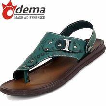ODEMA 2016 Hombres Sandalias de Cuero Genuino Moda Hebilla Casual Slip-on de Diapositivas Pisos de Los Hombres de Verano Zapatos de la Playa 38-44(China (Mainland))