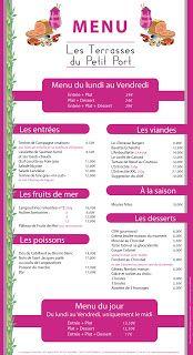 Les terrasses du petit port, carte menu - Label communication