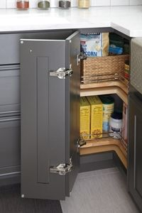this pull out lazy susan cabinet provides corner cabinet storage convenience only better bringing