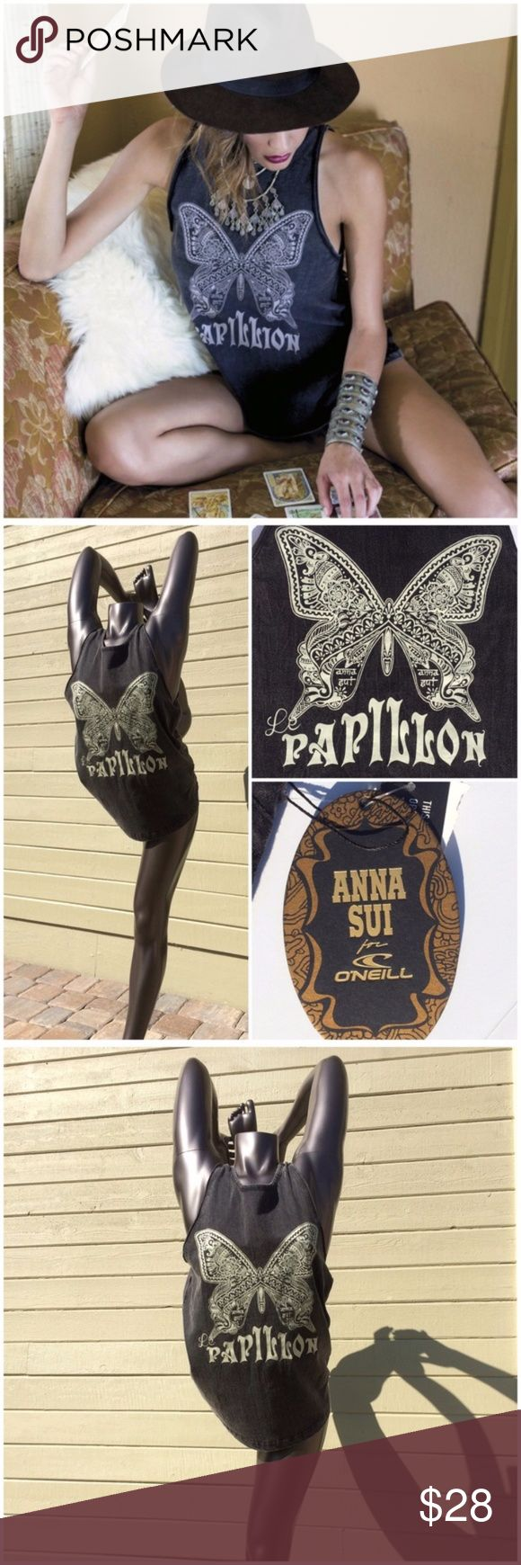 Anna Sui O'NEILL Collaboration Papillon Tank Stunning 70's inspired design by Anna Sui. Become a gypsy warrior, the exclusive O'NEILL collaboration is inspired by the light of the moon for beautiful, whimsical styling from dusk to dawn. Features Anna's signature butterfly, acid wash for a vintage look, Anna for O'Neill woven label and hang tag, 100% cotton, (ZR1 O'Neill Tops Tank Tops