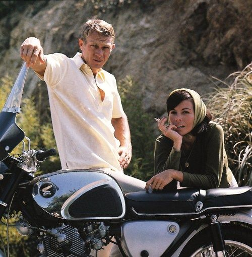 Steve McQueen and his wife Neile in the driveway of their house on Solar Drive, Hollywood Hills, 1962.