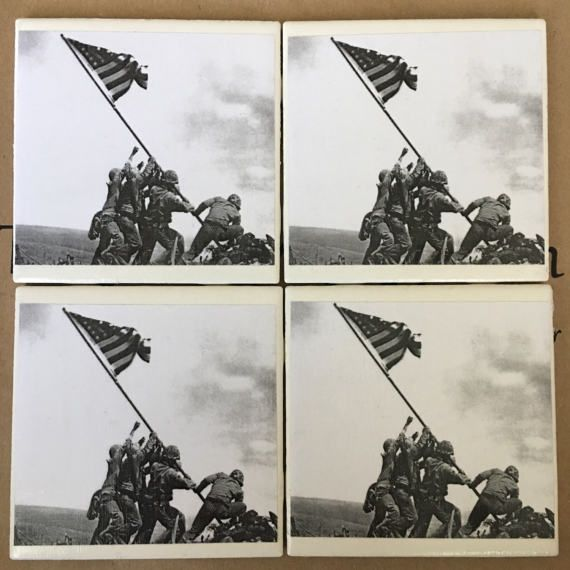 Handmade Coasters Iwo Jima Marines USA by CourtneySonnenbergCo