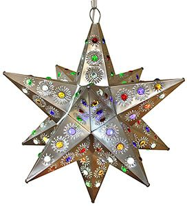 These handmade hanging tin stars from Mexico are the ultimate accent to your rustic or southwestern decor! The various punched out designs and colorful marbles are absolutely stunning when illuminated and glow from every angle of the five-sided arms. Hang one in any room of your home for unique decorative lighting. LaFuente.com