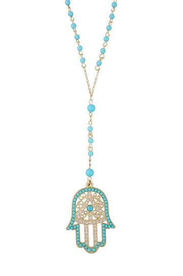 "Hamsa Necklace by Meghan LA   - Beaded hamsa pendant on a beaded chain  - Lobster clasp  - Approx. 29"" chain length  - Approx. 2"" L x 1.5"" W pendant  - Approx. 4"" center drop length  - Imported  Materials  Gold plated steel, plastic, rhinestones  $69.00"