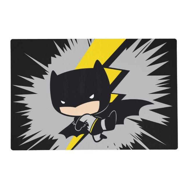 Chibi Batman Lightning Kick Placemat Zazzle Com In 2021 Superhero Wallpaper Batman Chibi