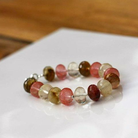 Great tones and hues. Perfect mixed with other pieces. Cherry Quartz Bracelet - SilverBellas.com
