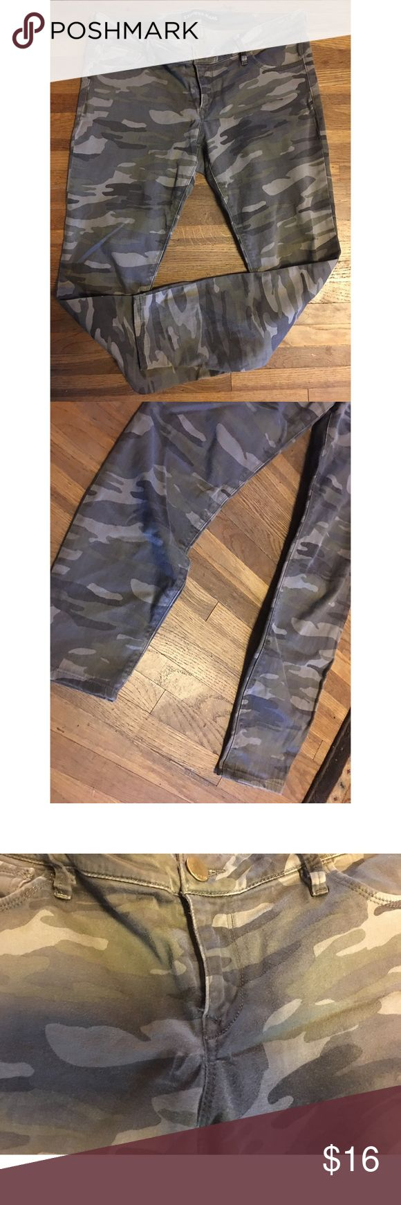 Camo skinny jeans Camo skinny jeans!! From express. They're the ankle kind. Super comfy. Small stretch mark by zipper. Express Jeans Ankle & Cropped