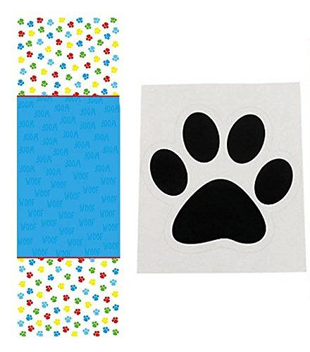 dog party supplies set - 1 paw print tablecloth (54 x 108 inches ...