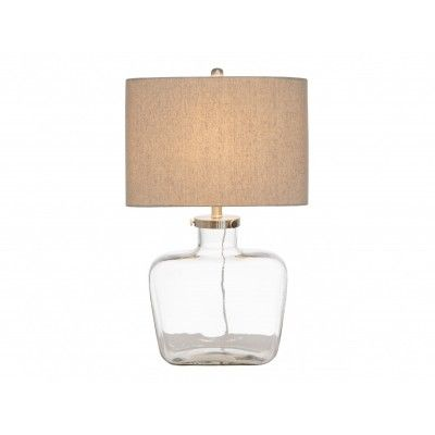 The table lamp clear glass fillable bottle w grey linen shade oneworld is a professional and stylish table lamp which is perfect for creating a lovely and