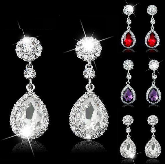 708 best Bridal Earrings images on Pinterest | Crystal wedding ...