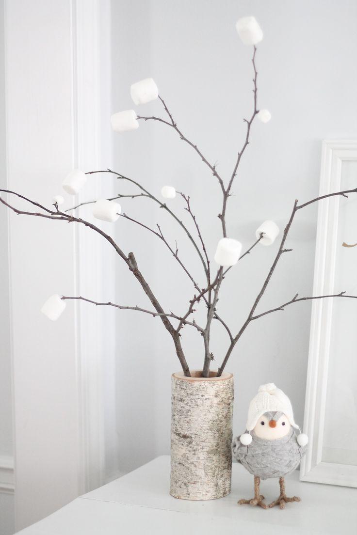 beautiful winter decor | 5 minute centerpiece in a diy birch vase