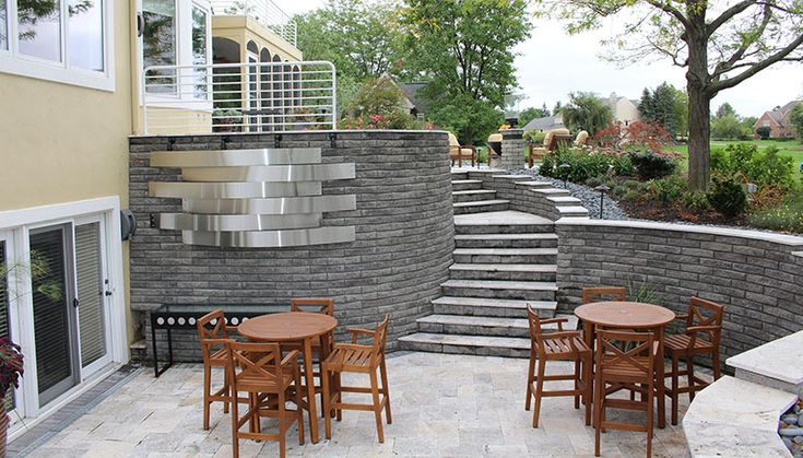 sunken patio, wood patio furniture, paver patio, backyard entertaining area, Back Yards, Stairs, Sunken Patio