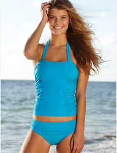 Ruched Tankini and Hipster, each $24.50, delias.com. Another modest swimsuit!