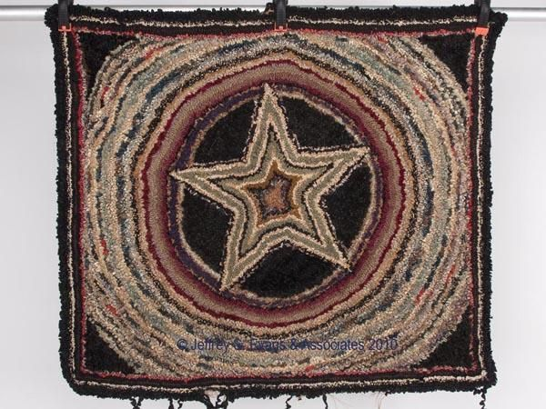"""PAGE CO., VA HOOKED RUG made by Vergie Wilfong. Early 20th century. 37"""" x 42"""", Jeffrey S. Evans & Asso."""