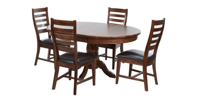 Merlot Round Extending Table & Set Of 4 Ladderback Chairs  Dfs Enchanting Dfs Dining Room Furniture Design Inspiration