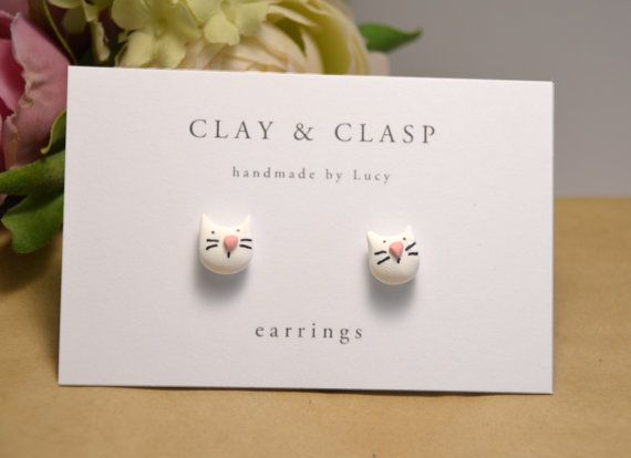 White Cat earrings  beautiful handmade polymer by ClayandClasp, $20.00