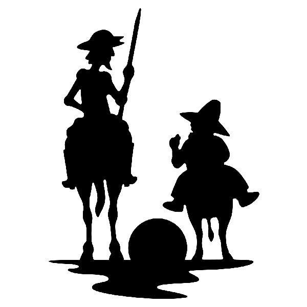 Pegatinas: Don Quijote y Sancho atardecer