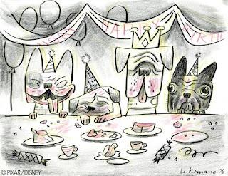 dogs birthday party illustration