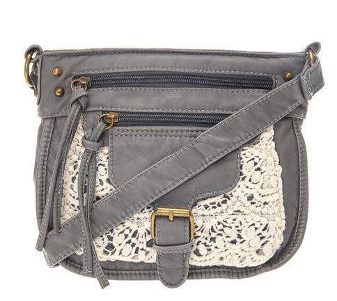 Grey Crochet Cross Over Bag - Claire's