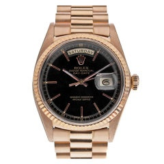 Rolex 1970s Rose Gold Black Lacquer Stella Dial Day-Date