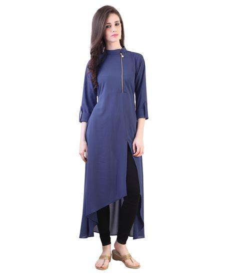 Stand Collar Kurti Designs : Blue chain crepe long kurti shree wow ethnic suit