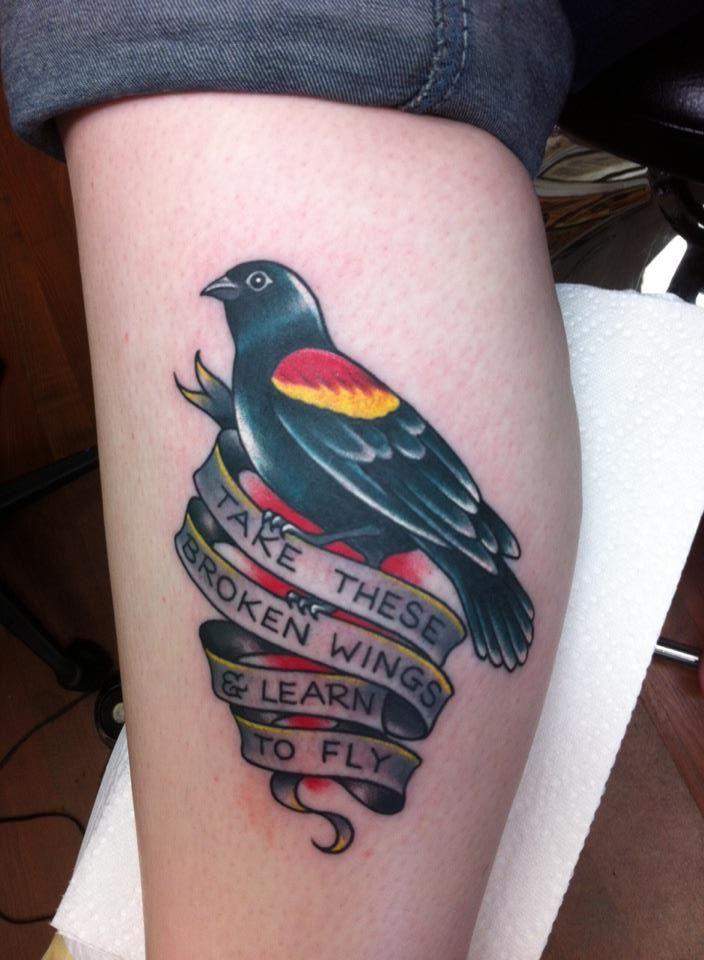 Blackbird tattoo with The Beatles lyrics, Tim Beck, Freedom Ink Tattoos, Peoria, IL