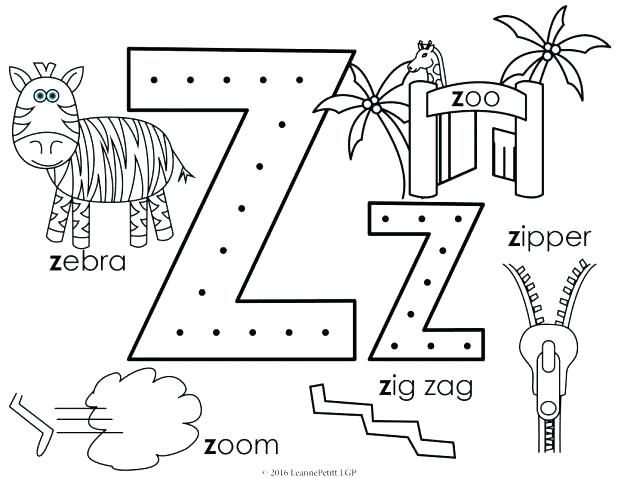 the letter z coloring pages - photo#30