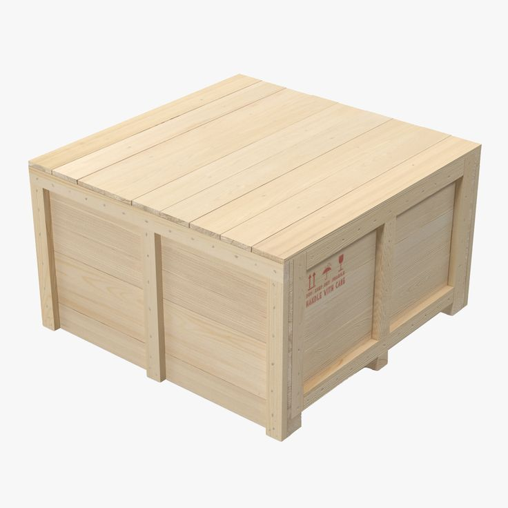 3d model wooden shipping crate 2